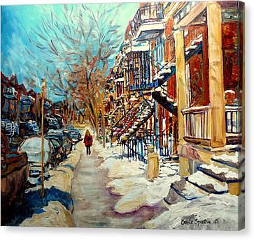 Montreal Street In Winter Canvas Print by Carole Spandau