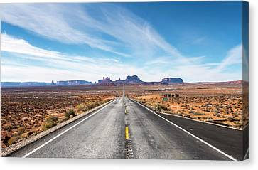 Canvas Print featuring the photograph Monument Valley National Park In Arizona, Usa by Josef Pittner