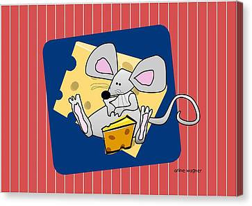 Moochie Loves Cheese Canvas Print by Arline Wagner