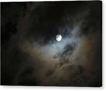Moon And The Clouds Canvas Print by Explorer Lenses Photography