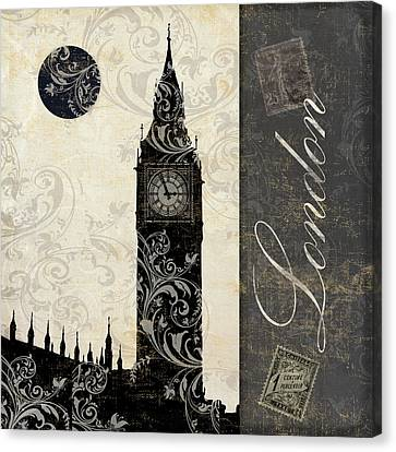 City Canvas Print - Moon Over London by Mindy Sommers