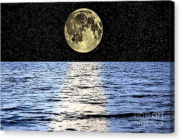 Moon Over The Sea, Composite Image Canvas Print by Victor de Schwanberg