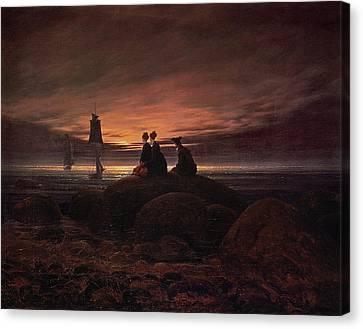 Moon Rising Over The Sea Canvas Print by Caspar David Friedrich