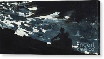 Moonlight On The Water Canvas Print by Winslow Homer