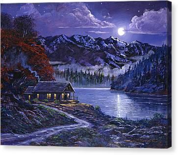 Moonlit Cabin Canvas Print by David Lloyd Glover