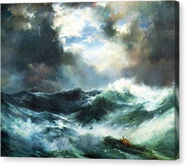 Lost At Sea Canvas Print - Moonlit Shipwreck At Sea by Thomas Moran
