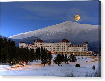 Hampshire Canvas Print - Moonrise Over The Mount Washington Hotel by Ken Stampfer