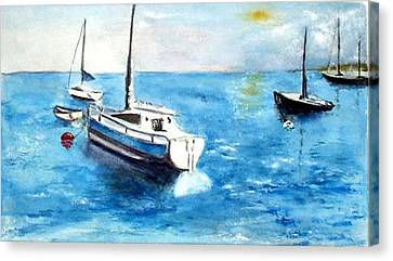 Canvas Print featuring the painting Moored Boats by Sibby S