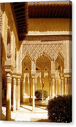Moorish Architecture In The Nasrid Palaces At The Alhambra Granada Canvas Print by Mal Bray