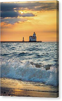 Canvas Print featuring the photograph Morning Dance On The Beach by Bill Pevlor
