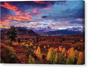 Morning Drama In The Colorado Rockies Canvas Print by Andrew Soundarajan