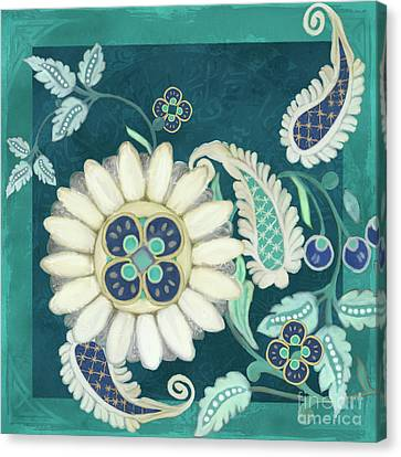 Canvas Print featuring the painting Moroccan Paisley Peacock Blue 1 by Audrey Jeanne Roberts