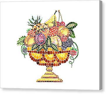 Peaches Canvas Print - Mosaic Fruit Vase by Irina Sztukowski
