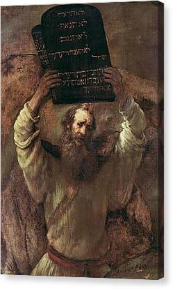 Ten Commandments Canvas Print - Moses Smashing The Tablets Of The Law by Rembrandt