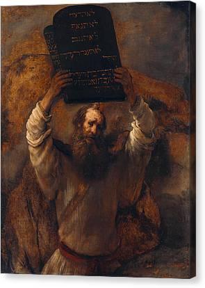 Moses With The Ten Commandments Canvas Print by Rembrandt van Rijn