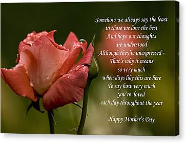 Canvas Print featuring the photograph Mother's Day Card 5 by Michael Cummings