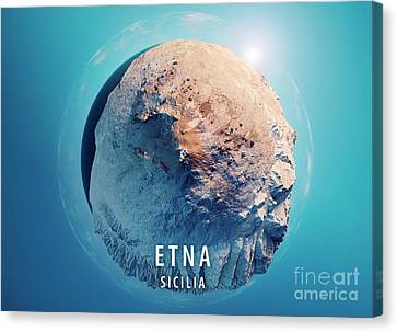 Mount Etna 3d Little Planet 360-degree Sphere Panorama Blue Canvas Print by Frank Ramspott