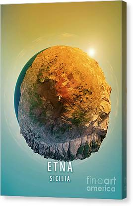 Mount Etna 3d Little Planet 360-degree Sphere Panorama Canvas Print by Frank Ramspott