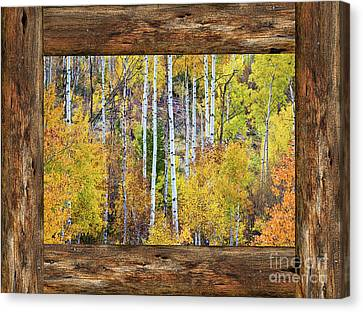 Colorful Aspen Forest Rustic Cabin Window View  Canvas Print by James BO Insogna