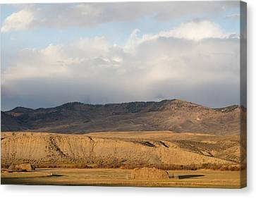 Canvas Print featuring the photograph Mountain Meadow And Hay Bales In Grand County by Carol M Highsmith