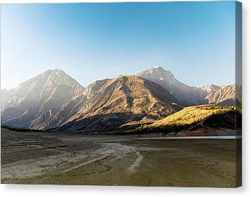 Mountain Reflection On Lake At Sunrise Canvas Print by Alim Yakubov