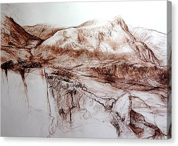 Canvas Print featuring the drawing Mountains In Snowdonia by Harry Robertson