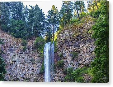 Canvas Print featuring the photograph Multnomah Falls Cliff by Jonny D