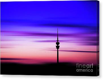 Canvas Print featuring the photograph Munich - Olympiaturm At Sunset by Hannes Cmarits