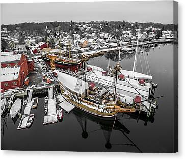 Mystic Seaport In Winter Canvas Print
