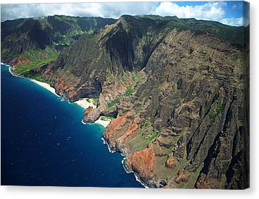 Na Pali Coast Aerial Canvas Print by Peter French - Printscapes