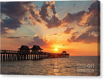 Canvas Print featuring the photograph Naples Pier At Sunset by Brian Jannsen