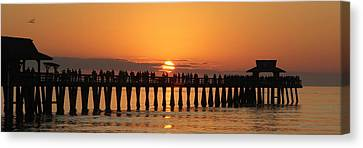 Naples Pier At Sunset Canvas Print by Sean Allen