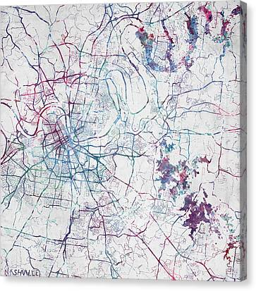 Nashville Map Painting Canvas Print by Map Map Maps