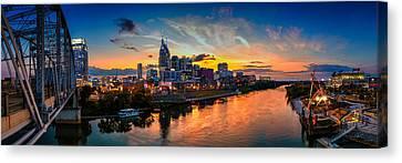 Nashville Skyline Canvas Print - Nashville Skyline Panorama by Brett Engle