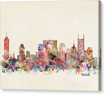 Nashville Skyline Canvas Print - Nashville Tennessee Skyline by Bleu Bri