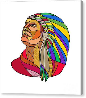 Indian Ink Canvas Print - Native American Indian Chief Headdress Drawing by Aloysius Patrimonio