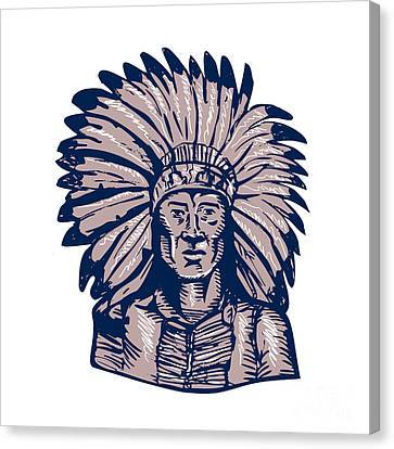 Indian Ink Canvas Print - Native American Indian Chief Warrior Etching by Aloysius Patrimonio