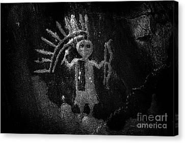 Native American Warrior Petroglyph On Sandstone Bw Canvas Print