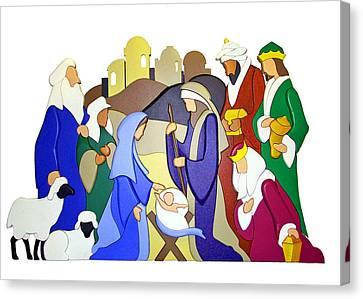 Nativity Scene Canvas Print by Munir Alawi