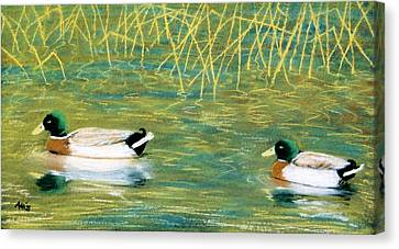 Canvas Print featuring the pastel Near The Reeds by Jan Amiss