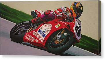 Neil Hodgson - Ducati World Superbike Canvas Print by Jeff Taylor