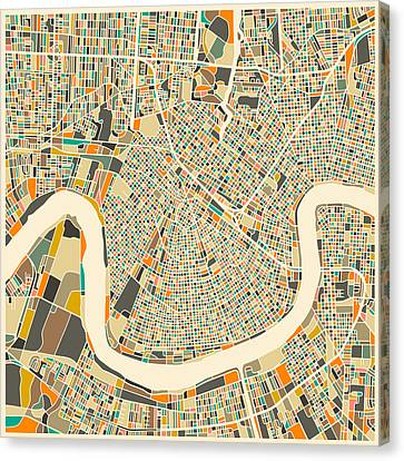 Abstract Map Canvas Print - New Orleans Map by Jazzberry Blue