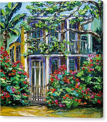 New Orleans Painting Behind The Gate B. Sasik Canvas Print by Beata Sasik