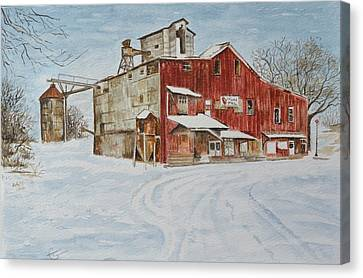 Feed Mill Canvas Print - New Palestine Elevator by Traci Goebel