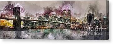 New York City Skyline Watercolor  Canvas Print