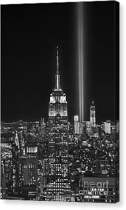 New York City Tribute In Lights Empire State Building Manhattan At Night Nyc Canvas Print by Jon Holiday