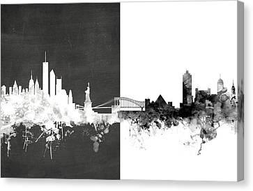 New York Memphis Skyline Mashup Canvas Print by Michael Tompsett