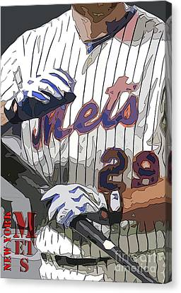 New York Mets Baseball Team And New Typography Canvas Print by Pablo Franchi