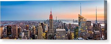 Canvas Print featuring the photograph New York Skyline Panorama by Mihai Andritoiu