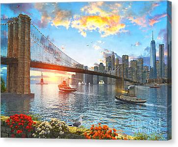 Times Square Canvas Print - New York Sunset by Dominic Davison